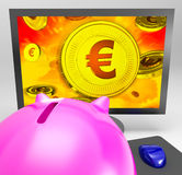 Euro Coin Shows Finance Wealth And Savings. Euro Coin Showing Finance Wealth And Prosperity Stock Images