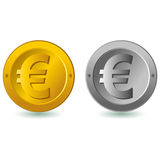Euro coin. Silver and gold Euro coins isolated in white vector illustration