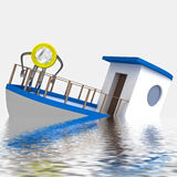 Euro coin sinking during cruise illustration Royalty Free Stock Photo