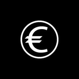 Euro coin solid icon, finance and business Royalty Free Stock Photography