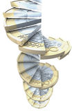 Euro coin stairs. Winding stairs made of a one euro coin, 3d rendering on white background Stock Photos