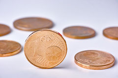 Euro coin standing Stock Photography