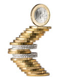 Euro coin symbol stack Stock Photo