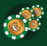 Euro-Coin Theme Design for Casino Concept Stock Photos