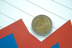 Euro coin on top of chart. Euro coin on top of red and blue chart Stock Photos