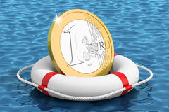 Euro coin on the water lifebuoy Royalty Free Stock Photo