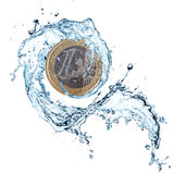 Euro coin with water splash. Euro coin with water splash isolated on white background Royalty Free Stock Image