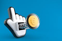 Euro coin with web cursor. Isolated on blue background. 3d illustration Stock Illustration