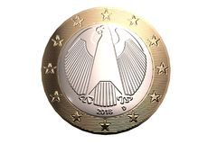 Euro coin on a white background backside high quality, high resolution 3D render. vector illustration