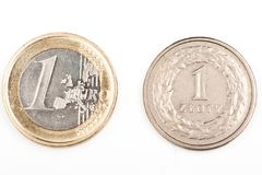 Eurocent close up. euro coin royalty free stock photo