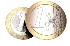 Euro coin on a white background front and back high quality, high resolution 3D render. Royalty Free Stock Photo