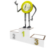 Euro coin winner best place ovation. Euro coin robot as winner best place ovation best place rendering illustration Royalty Free Stock Photos