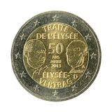 2 euro coin 50 years elysee treaty isolated on white background. Specimen stock photography