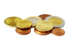 Euro coins. Few Euro coins isolated on white background Royalty Free Stock Photos