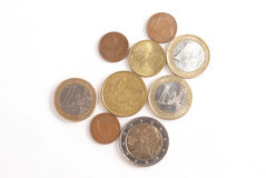 Euro coins. Isolated on the white Royalty Free Stock Photo