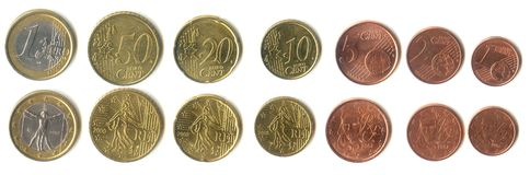 Euro coins. All denominations from 1 Euro to 1 cent stock photo