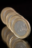 Euro coins. Euro currency. Several 1 Euro coins Royalty Free Stock Images