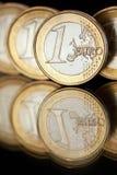 Euro coins. Euro currency. Several 1 Euro coins Stock Photos