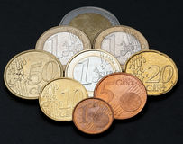 Euro coins. It is photographed by close up Stock Images
