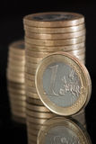 Euro coins. Euro currency. Several 1 Euro coins Stock Image