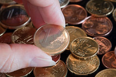 Euro coins. Euro currency. Several coins and the 1 Euro Stock Images