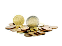 Euro Coins. Straggle all over the floor stock photo