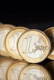 Euro coins. Euro currency. Several 1 Euro coins Stock Photo