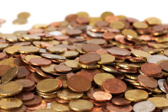 Euro coins. Lot of euro coins on a white surface Royalty Free Stock Images