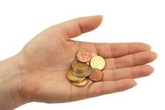 Euro coins. Open hand with old euro coins Stock Photos