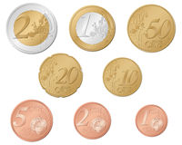 Euro coins. Set isolated on a white background. Vector illustration Stock Photos