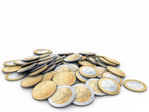 Euro coins. Made in C4D Royalty Free Stock Photo