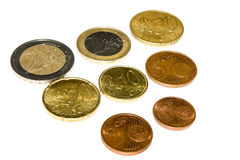 Euro coins. All euro coins together isolated on white background Royalty Free Stock Photos