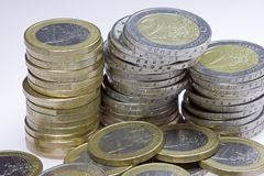 Euro coins. Image of stacks of euro coins royalty free stock images