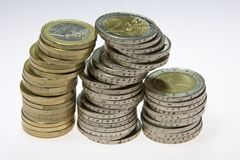 Euro coins. Image of stacks of euro coins Stock Photography