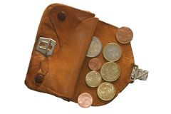 Euro coins. All euo coins on small purse Stock Image