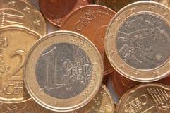 Euro coins. Some euro coins closeup background royalty free stock photos