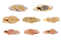 Euro coins. European money. euro coins divided by type stock image