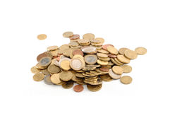 Euro coins. Bunch of euro coins on white background royalty free stock photography