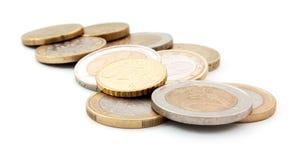 Euro coins. On white background stock photos