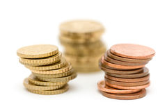 Euro coins. In stack, shallow focus in front stock photo
