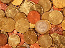 Euro coins. 1 Euro, 50 cents, 20 cents, 10 cents and 5 cents stock photos