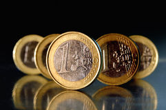 Euro Coins. 1 Euro coins on black background stock photography