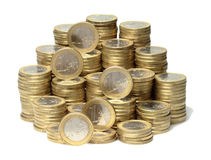 Euro coins. About 300 Euro coins lie on a stack stock image