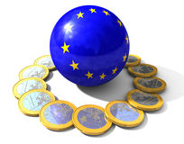 Euro Coins. 3d imagine whit a sphere of europe and euro coins around Stock Image