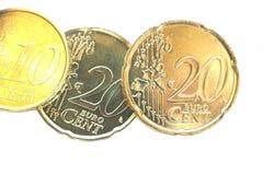 Euro coins. Photo of Euro coins isolated on white Stock Photos