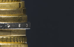 European currency Euro money cent coins stack. Extreme close-up of Euro coins stock image