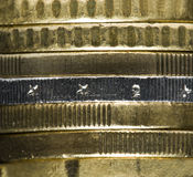 European currency Euro money cent coins stack. Extreme close-up of Euro coins royalty free stock images