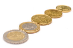 Euro coins. Five euro coins macro shot royalty free stock images