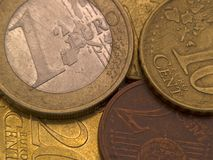 Euro Coins. Of different face-value laying on each other Royalty Free Stock Photography