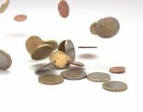 Euro coins. Some euro coins on a white background royalty free stock photos